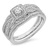 0.45 Carat (ctw) 10K Gold Round Cut Diamond Ladies Bridal Halo Engagement Ring Matching Band Set 1/2 CT