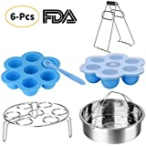 Instant Pot Accessories Set-Fits 5,6,8Qt Instant Pot Pressure Cooker,6 Pcs with Silicone Egg Bites Mold×2,Steamer Basket Rack,Egg Steamer Rack,Silicone Spoon and Bowl Clip,Steamed Out Health