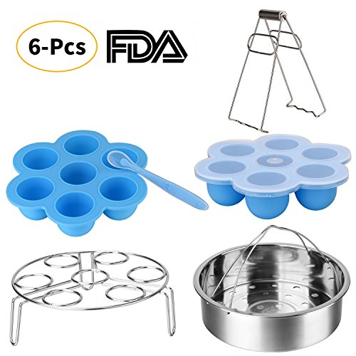 Instant Pot Accessories Set-Fits 5,6,8Qt Instant Pot Pressure Cooker,6 Pcs with Silicone Egg Bites Mold×2,Steamer Basket,Egg Steamer Rack,Silicone Spoon and Bowl Clip,Steamed Out Health