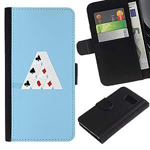 YiPhone /// Tirón de la caja Cartera de cuero con ranuras para tarjetas - MINIMALISTA TARJETA DE CASA - Samsung Galaxy S6
