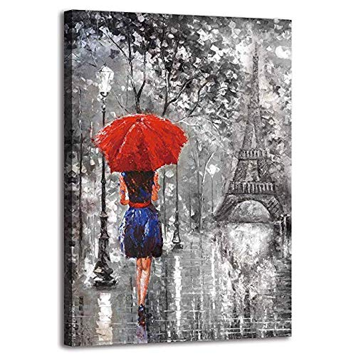 (BYXART 1 Pieces Red Umbrella Fashion Woman Painting Canvas Framed Art Wall Decor Romantic Paris Street Prints On Canvas Ready to Hang for Living Room Bathroom Bedroom Decorations 12x18in )