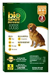 BioSpot Defense Flea and Tick Spot with Smart Shield Applicator Refill for Dogs 56 to 80-Pound