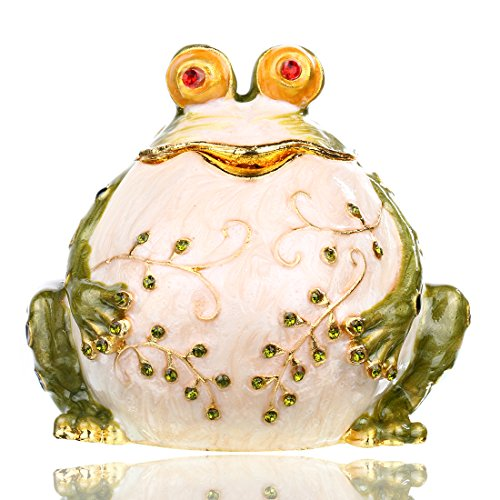YUFENG Large Handpainted Trinket Box Hinged Frog Figurine...