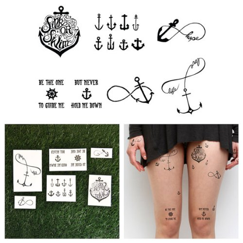Tattify Anchor Themed Temporary Tattoos - Tall Ships (Set of (Anchor Tattoos Women)