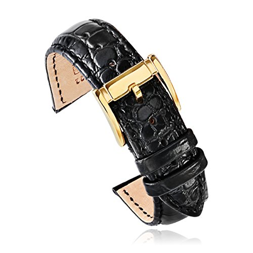 22mm Watch Band Black Crocodile-Embossed Calfskin Leather Strap for Men Gold Watch Buckle (22bkgd) …
