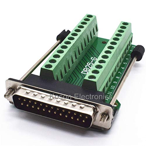 (Gimax D-SUB Connectors DB25 25Pin Male Adapter Board RS232 Serial to Terminal Signal)