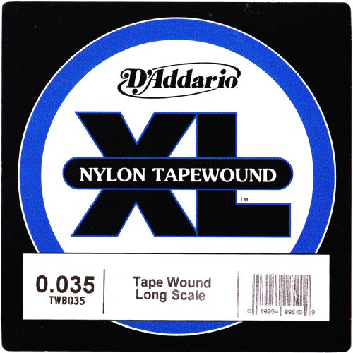 D'Addario TWB035 Nylon Tape Wound Bass Guitar Single String, .035 Fretted Upright Bass