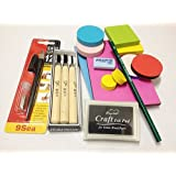 WellieSTR DIY Rubber Stamp Carving Kit :Carving Block , Carving Knife ,InkPad,Easy Grip ,Eraser , Pencil . Customize for Scrapbooking, Postcards, Invitation Cards, DIY Project