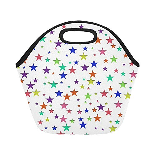 Insulated Neoprene Lunch Bag Star Random Scattered Confetti Large Size Reusable Thermal Thick Lunch Tote Bags For Lunch Boxes For Outdoors,work, Office, School