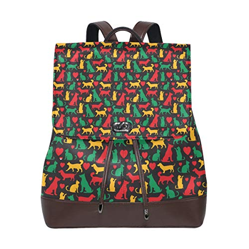 Unisex PU Leather Backpack Cats and Dogs Colored