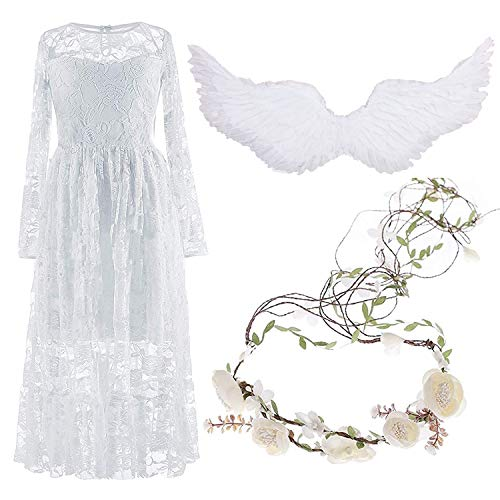 Girls Boho Lace Dress for Wedding Flower Girl,w/Flower Garland Headband & Feather Angel Wings,White,Set3-8