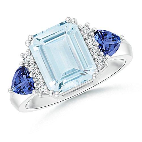 Emerald Cut Aquamarine Trillion Tanzanite 3 Stone Ring for Women in Platinum (10x8mm (Aquamarine Trillion Ring)