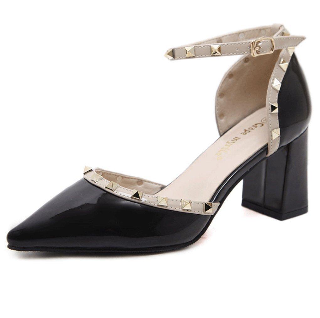 LBDX Verano y Otoño Baotou Remache Pointed Tacones Altos Boca Baja Tacón Grueso Zapatos de Mujer 38 EU|Negro