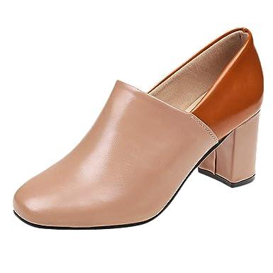 a2c0eab90b71 DENER❤ Women Ladies Flat Shoes with Block Heel