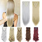 FUT Full Head 16 Clips in 7 PCS Straight Double Weft Synthetic Hair Pieces Extensions 23inch 160g for Girl Lady Women Ash Blonde Mix Bleach Blonde