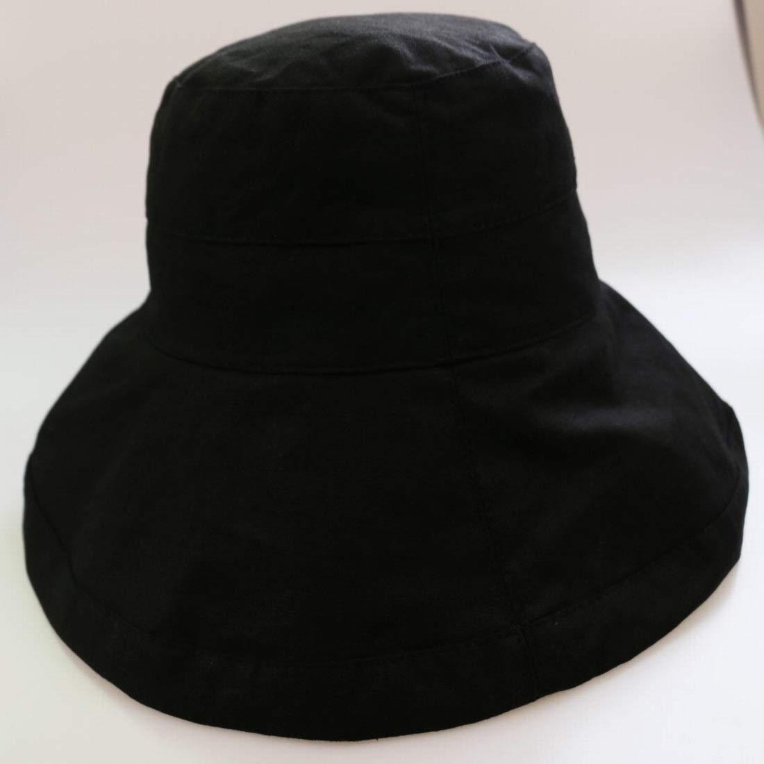 Sixminyo Sombrero de Pescador Plegable de ala Ancha de ala Ancha de algodón Sombrero de Pescador Plegable (Color : Black)