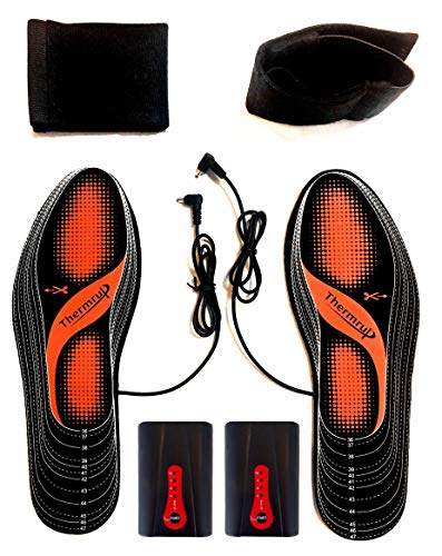 Thermrup Electric Heated Insole Foot Warmers Washable 5.5-12.5, Battery Operated(4 Levels),high Temperature!