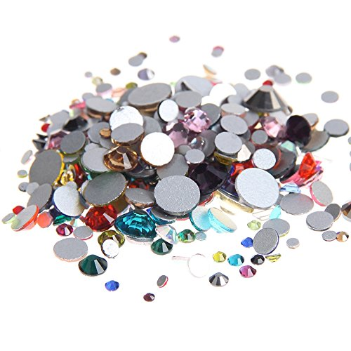 Addyxin Rhinestones For Nail Art Glitter Decorations Design Non Hotfix Glass Stones Mixed Normal Colors (Mixed Sizes - Glass Size Normal