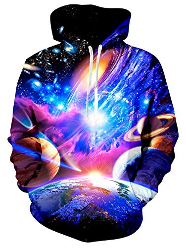 Goodstoworld Unisex 90s Galaxy Nebula Space Hoodie Active Sports Gym Graphic Pullover Hooded Sweatshirt For Women - 1990s Sports
