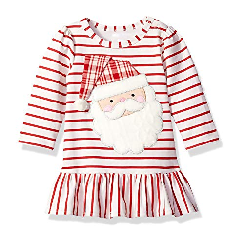 WOSENHK Baby Girls Christmas Outfits Striped Santa Claus Long Sleeve Dress (red, 90/12-24months)