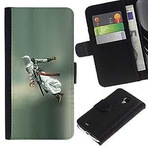 JackGot ( Flying Assassin ) Samsung Galaxy S4 Mini i9190 (NOT S4) la tarjeta de Crédito Slots PU Funda de cuero Monedero caso cubierta de piel