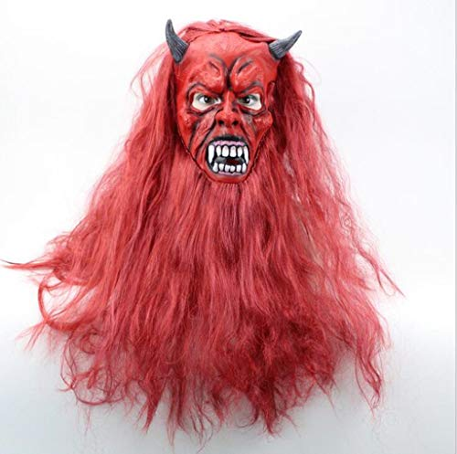 XHCP Halloween Mask Red-Haired Goblin Horn Mask Latex Material Carnival Mask]()