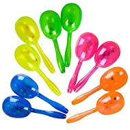 """Add Life To The Party! 12 Maracas Bright and Colorful Party Favors, Noisemaker for New Years Party, 5"""" Glitter Maracas For Mexican Fiesta, Cinco De Mayo Party- Preschool Musical Instrument - 6 Pairs"""