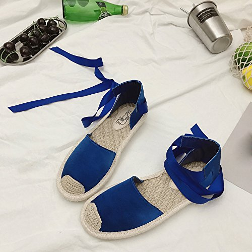 DEESEE TM Holiday Shoes Lace Summer Blue Strap Ankle Espadrilles Womens Flat Up Sandals Uqcw4qgA