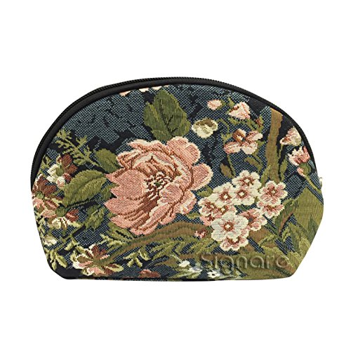 - Signare Tapestry Navy & Pink Makeup Bag Travel Cosmetic Bag Brush Bag for Women Girls with Peony Flower in Black Background (COSM-PEO)