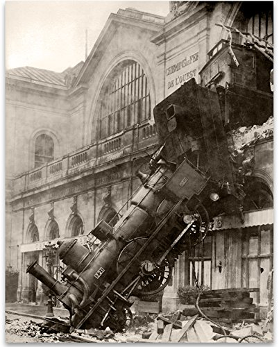 - Lone Star Art Paris Montparnasse Train Wreck Vintage - 11x14 Unframed Print - Perfect Vintage Home Decor