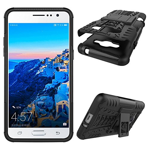J2 Prime Case, Tyre Pattern Design Heavy Duty Tough Armor Extreme  Protection Case with Kickstand Shock Absorbing Detachable 2 in 1 Case Cover  for