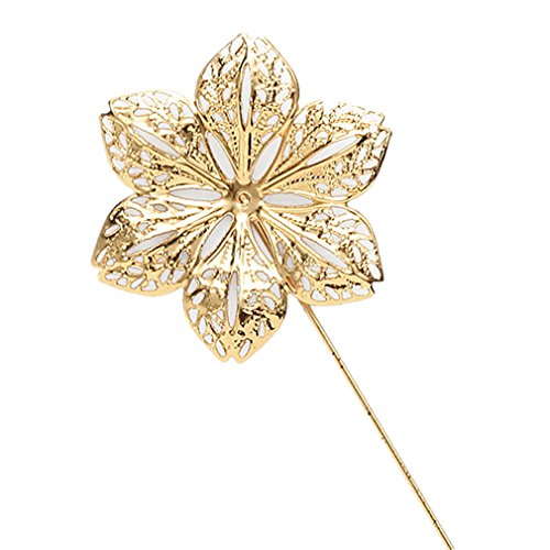 MGStyle Boutonniere Lapel Pin Stick Brooch For Men - Flower - Gold Tone - Alloy with Deluxe Gift Box