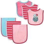 Hudson Baby 6 Piece Bib and Burp Cloth Set, Owl