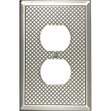 Questech Pyramid Decorative Metal Composite Switch Plate/Wall Plate/Outlet Cover (Single Duplex, Brushed Nickel Polish)