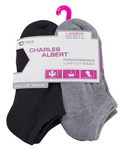 Charles Albert Women's Performance Sport Low Cut Ankle Socks - 10 Pack - Grey and Black