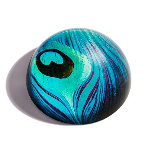 The Metropolitan Museum of Art Glass Peacock Feather Paperweight, Desk Décor ()