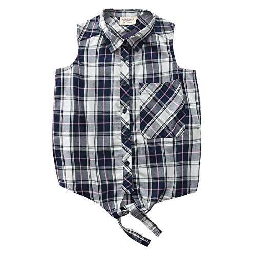Big Girls Sleeveless Woven Plaid Button Down Shirts with Collar Red Black Navy Color (12 Years, Navy - Dress Plaid Sleeveless