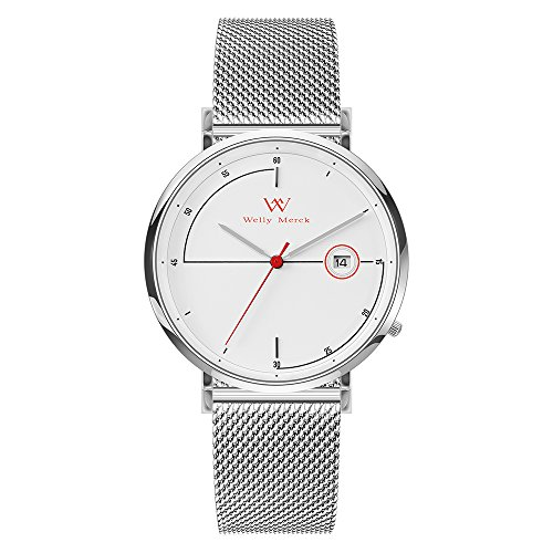 - Welly Merck Men's Watch Swiss Quartz Movement Luxury Minimalist Watch Red Hand Date Display 20mm Silver Width Mesh Interchangeable Mesh Strap, 5 ATM Water Resistant