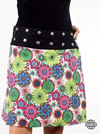 Falda R?versible cinturón ajustable flor multicolor – Mahana blanco ...