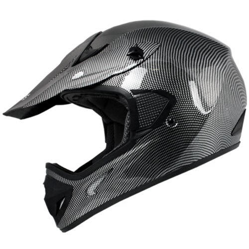 TMS Adult BLACK CARBON FIBER MOTOCROSS HELMET MX DIRT BIKE ATV MX Gear (Large)