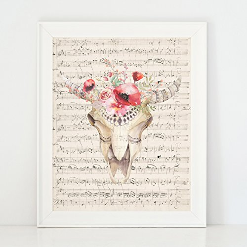 Rams Head with Flowers watercolor animal skull wall decor art print / poster - 8x10in (Prints Art Quirky)