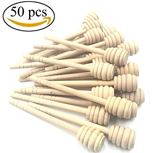 Mmei 50 pcs 6 Inch Portable Wood Honey Dipper Honey Stick for Honey Jam Jar Dispense - Honey Dip