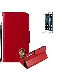 Funyye Red Premium Wallet Cover for Huawei P20 Pro,Cute 3D Owl Pattern Design Strap Magnetic Flip Detachable Case with Stand Card Holder Slots Cover for Huawei P20 Pro,Anti Scratch Full Body Protective Soft Silicone PU Leather Case for Huawei P20 Pro + 1 x Free Screen Protector