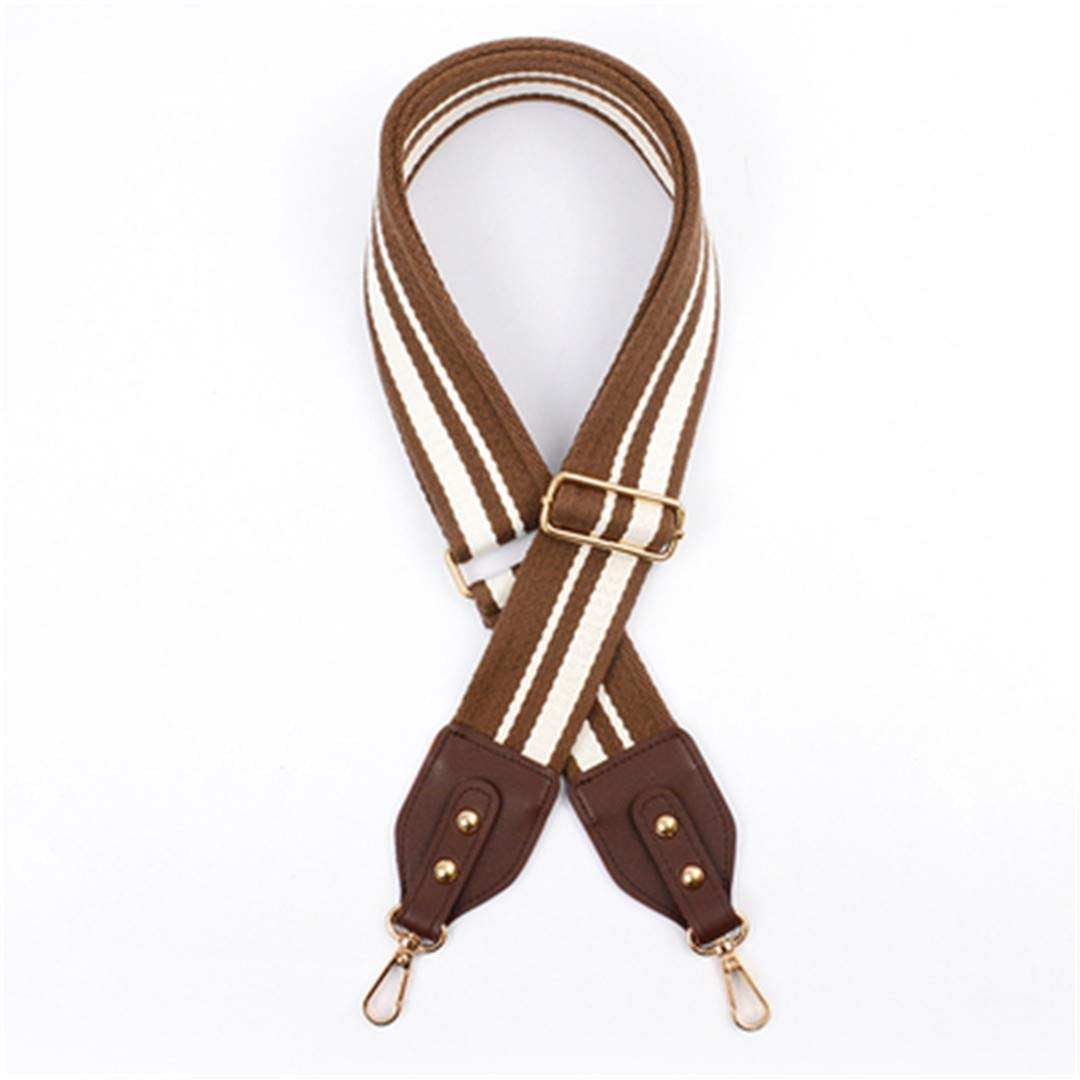 Sjhmikt 5Cm Wide Bag Strap Canvas Cotton Fabric Shoulder Strap Belt Chromatic Stripe Bag Accessories Adjustable Chocolate