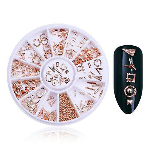 Rose Gold 3D Nail Art Rhinestones Studs Rivets Beads Mixed Size Manicure Tips (Pattern - Circle Round Square Triangle) (Checkered Pyramid Stud)