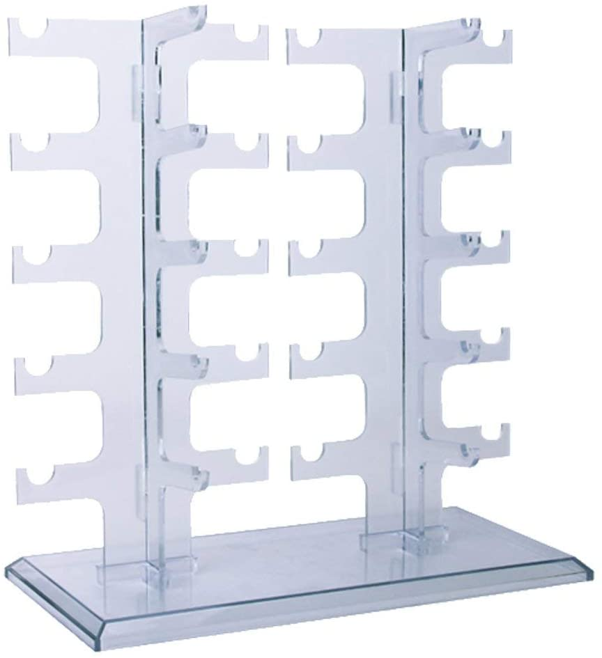 Allpdesky Two Row Sunglasses Rack 10 Pairs Glasses Holder Display Stand Transparent