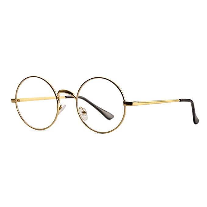 fac2a9e4bd553 Skitic Unisex Round Retro Glasses Metal Frame Clear Lens Vintage Plain  Spectacles Eyewear Geek Glasses Decor Eyeglasses for Men and Women - Gold   ...