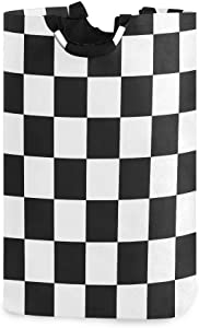 Baofu Checkered Laundry Hamper Large Dirty Foldable Clothes Bags Waterproof Durable Lightweight Oxford Round Collapsible Storage Basket Organization with Handles for Home Bathroom Bedroom