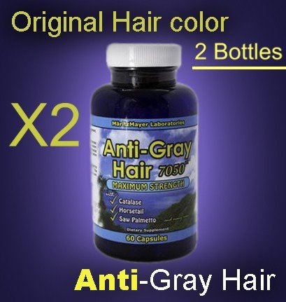 Anti-Gray Hair Supplements (2) with Catalase, Horsetail, Saw Palmetto and many more, Stop Grey Hair- 60 day supply (120 capsules)