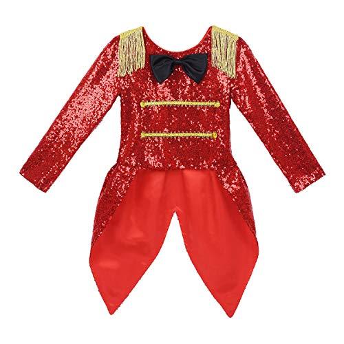 Gentleman Halloween Costumes (iiniim Kids Girls Ringmaster Circus Costume Halloween Cosplay Gentleman Outfit Sequins Jacket with Bowtie Tailcoat Red)